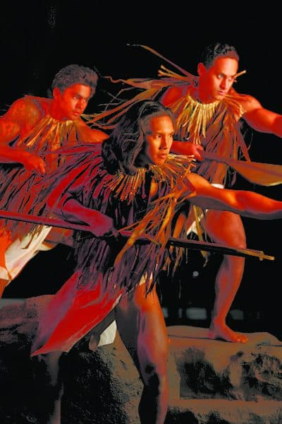 Kauai Luau fire dancers with spears