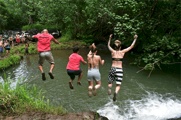Kauai ATV Tours - adventurous group cliff jumping