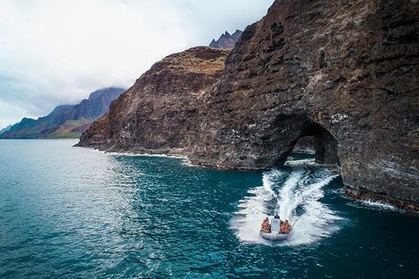 Kauai private boat charter sea cave exploration