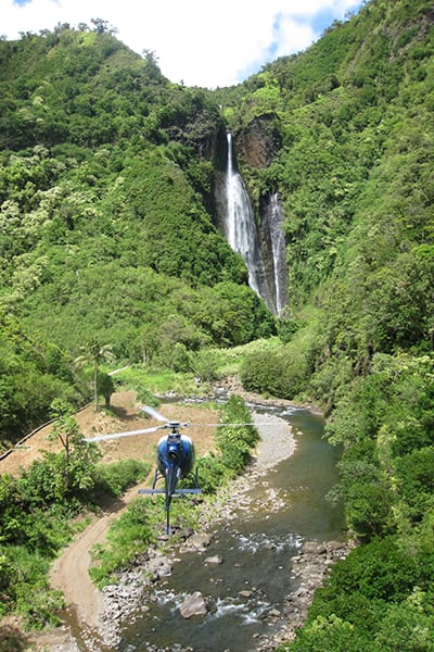 Approaching Jurassic Falls by Helicopter